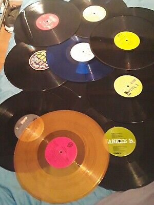 """LOT OF 5 COLORED VINYL 12"""" INCH RECORDS FOR Party DECORATIONS"""