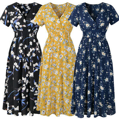 Women A-Line Dress Short Sleeve Floral Midi Sundress Evening Party Beach Dresses