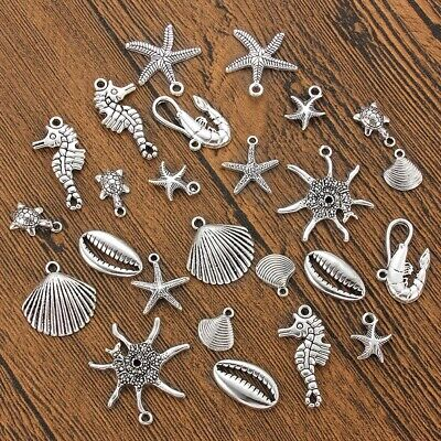 10X Antique Silver Ocean Lobster Turtle Seahorse Shell Charms Pendant DIY Making