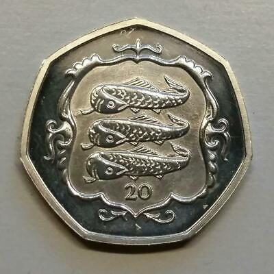 Isle of Man 20p Twenty Pence Coin HERRING - THREE FISHES iom manx coin hunt