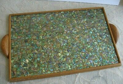 vintage ABALONE - PAUA SHELL wooden SERVING TRAY 36.5 x 23.8cm