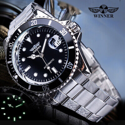 Mens Winner Stainless Steel Classic Automatic Mechanical Wrist Watches AU