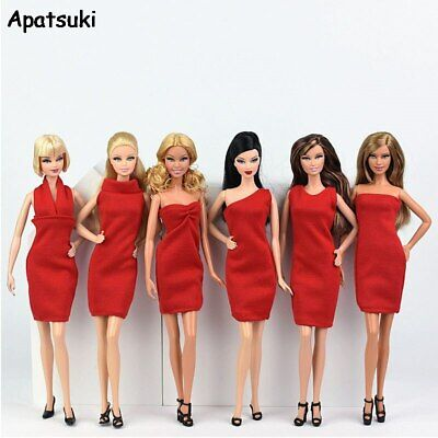 6pcs Red Fashion Dress for Barbie Doll Clothes Evening Party Wears Short Dress