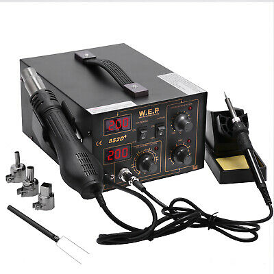 WEP Soldering Iron Rework Station Hot Air Gun Solder Welder Digital Display 2in1