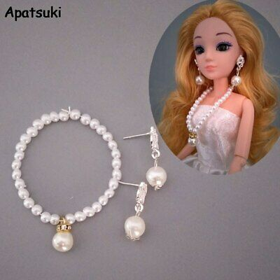 1/6 Dolls Accessories Imitation Pearl Jewelry For Barbie Doll Necklace Earring
