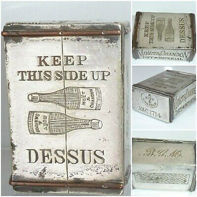 Victorian Champagne Crate Nutmeg Grater Moet & Chandon Casket Box Silver Plate
