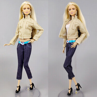 Khaki Coat & Trousers Pants For Barbie Doll Clothes Outfits Fashion Doll Clothes