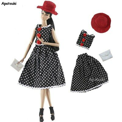 1set Fashion Coat /& Top /& Handbag /& Skirt For 1//6 Doll Clothes For 11.5in  Doll