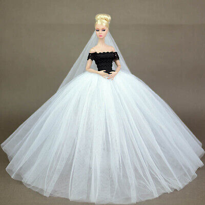 Black White Lace Wedding Dress for Barbie Doll Clothes Party Wears Long Dresses