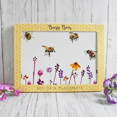 Jennifer Rose Gallery Set of 4 BUSY BEES Heat Resistant Laminated PLACEMATS