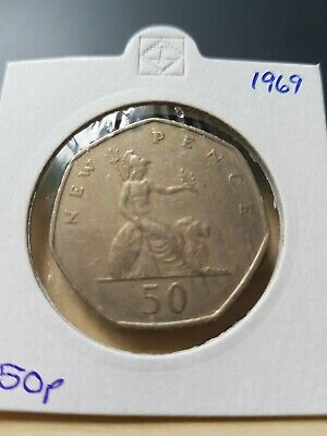1969 BRITANNIA. Large Old 50p. Fifty pence. Circulated - 1st year made