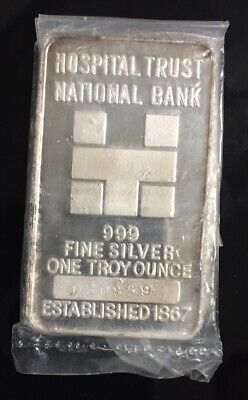 HOSPITAL TRUST NATIONAL BANK 999 SILVER ART BAR 1 Troy Oz COLLECTABLE OMP