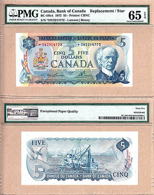 1972 $5 BC-48bA *SW Replacement Bank of Canada Note; PMG GEM UNC65 EPQ