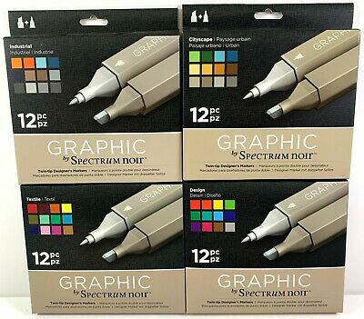 Graphic by Spectrum Noir Twin Tip Broad Chisel & Precision Nib 12 Marker Pen Set