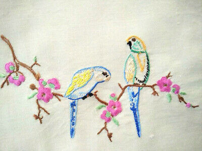 Budgies/Budgerigars & Cherry Blossom  Vintage Hand Embroidered Centre/Mat