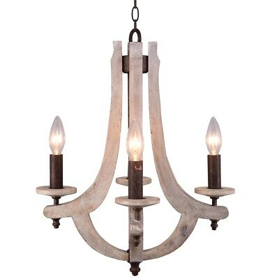 Vintage Metal Wood Chandelier Retro Iron Wooden Ceiling 4-Light Dining Room Lamp
