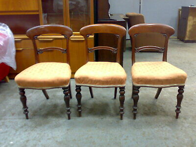 3x victorian antique mahogany dining chairs