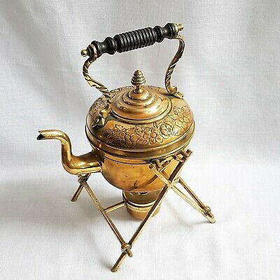 Antique Brass 3 Pint Kettle On Pivot Stand Ebony Handle Embossed Floral Decor