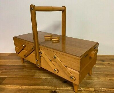 Vintage Wooden Cantilever Sewing Kit Box Made By Schaerf Woodworking Storage
