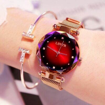 Luxury Rose Gold Women Watches Fashion Diamond Ladies Starry Sky Magnet Watch