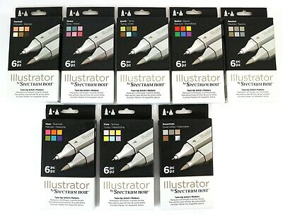 Illustrator by Spectrum Noir Twin-Tip Brush & Fine Nib Marker Pen Set - 6 Pack