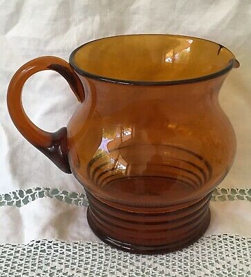 Large Hand Blown Amber Glass Water Jug