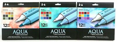 Aqua by Spectrum Noir Twin Tip Brush & Fine Nib Water Based 12 Marker Pen Set