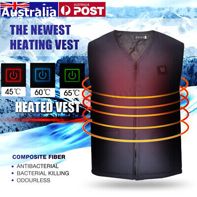 6 Sizes Unisex Electric Heated Warm Vest Winter Jacket Coats Pocket Battery AU