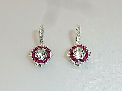 Ladies Art Deco Halo Design 925 Sterling Silver White Sapphire Ruby Earrings
