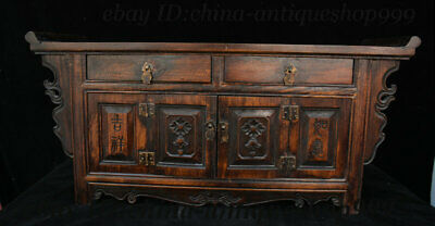 "23"" Old Chinese Dynasty Huanghuali Wood Carving Auspicious Cabinet Table Statue"
