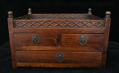 """13"""" Old China Huanghuali Wood Carving Dynasty 3 Open Drawer Locker Table Statue"""