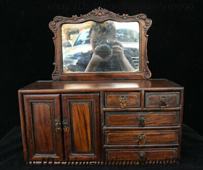 """16"""" Chinese Huanghuali Wood Carving Drawer Locker Cabinet Dressing Table Statue"""