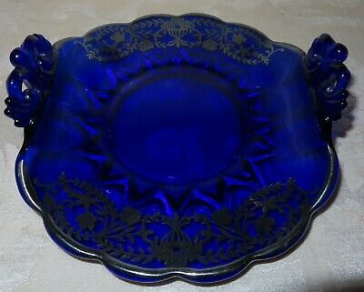 Serving Dish Sterling Silver Overlay on Cobalt Blue Glass with OLD Floral Pat.