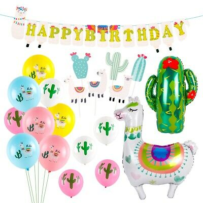 21X Alpaca Foil Latex Balloons Hawaii Decor Set Birthday Banner Party Supplies