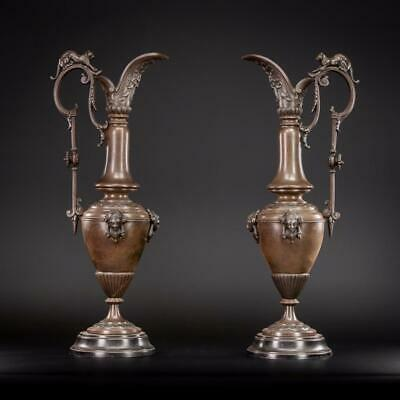 "Pair of Urns | Two Amphora Vases | French Antique Bronzed Metal | 19"" _"