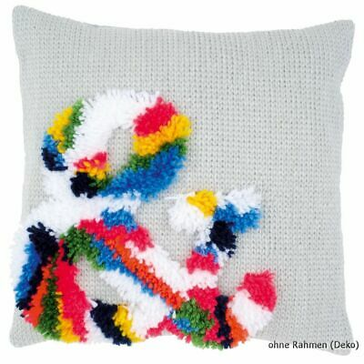 Vervaco Latch hook & stitch kit cushion Bright ampersand, DIY