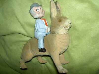 "Wonderful rare antique, ""Foxy Grandpa"", char. on rabbit, nodder candy container"
