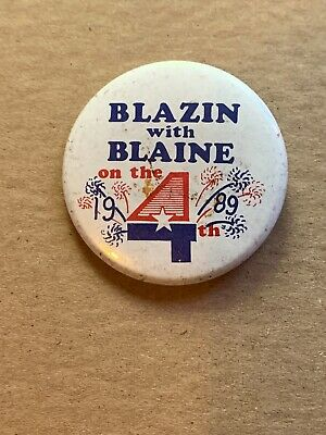 Blazin With Blaine On The 4th  Minnesota Pin Back Button   4th Of July   2-1/4""