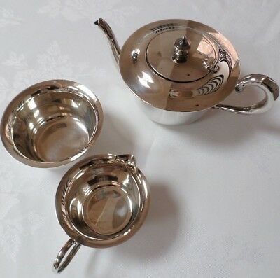 VINTAGE SILVER PLATED TEA  SET teapot sugar bowl & milk  jug EPNS