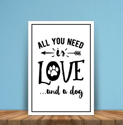 Metal signs plaques All you need is Love Dog printed quotes wall art home decor