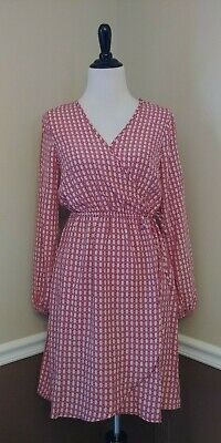 NEW Modcloth Shirt Dress S Rust Red Print Long Sleeves Retro Just Add Coffee 70s