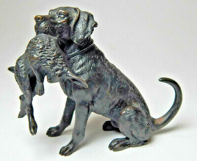 Antique Bronze Sculpture Figure Dog with Hare Hunting Sporting