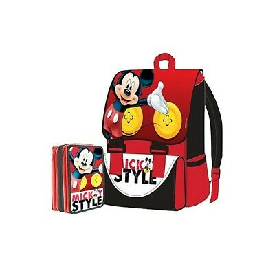 DISNEY Kit Expandable Backpack + Pencil Case 3 Zip Mickey Mouse
