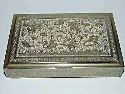 GREAT ANTIQUE VINTAGE 353g SILVER ISLAMIC PERSIAN BOX with BIRD & FLOWER DESIGN