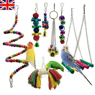 7 Pack Beaks Metal Rope Small Parrot Budgie Cockatiel Cage Bird Toys 2019
