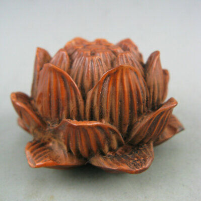Antique Chinese Old Boxwood Hand carved Lotus flower Statue