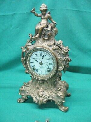 19th Century ANSONIA C.D. Peacock Chicago CHERUB Mantel Rococco CLOCK; Serviced