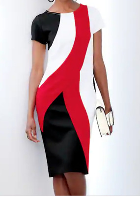 dd162b8db Ashro Red White Black Formal Church Event Stalone Curved Colorblock Dress  XL 3X