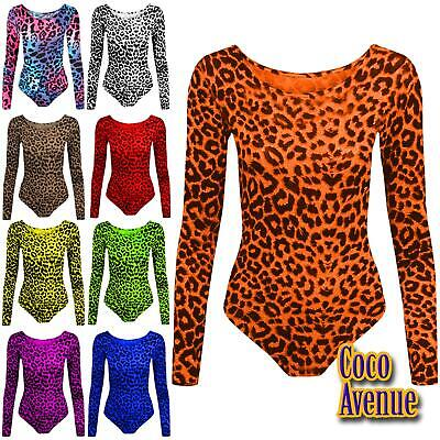 Kids Girls Long Sleeve Round Neck Leopard Print Gymnastic Dance Leotard Bodysuit