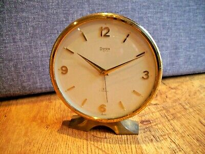 Vintage Mid 20th Century Swiza Mignon Solid Brass Alarm Clock (8 Day Swiss Made)